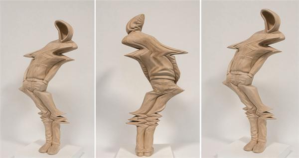 扭曲的木质雕塑-paul kaptein